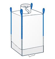 LZS + FWY - model wyposażony w komin (lej) zasypowy na górze oraz fartuch wysypowy znajdujący się na dole worka.